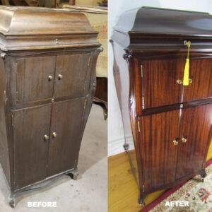 1917-victrola-xvi-english-brown-mahogany-before-after
