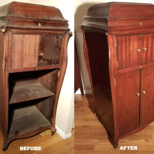 1918-victrola-xvi-mahogany-before-after